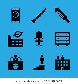 oboe, news reporter, thermometer, chest of drawers, promotion, building, factory, desk chair and smartphone vector icon. Simple icons set