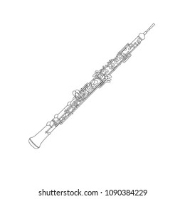 Oboe with Reed outline detailed line drawing