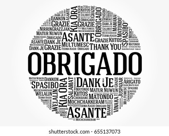 Obrigado (Thank You in Portuguese) Word Cloud background, all languages, multilingual for education or thanksgiving day