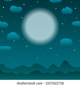 Obscure dark moon light landscape cartoon style illustration, starry night, evil spirits, mystical local beliefs and folklore idea. Twilight atmosphere, cover for stories about vampires and werewolves