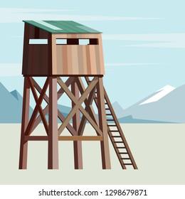 Observation tower for hunter