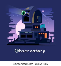 Observatory dome and station and a clear night sky. Astronomical Observatory - vector illustration