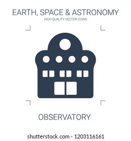 observatory icon. high quality filled observatory icon on white background. from earth space astronomy collection flat trendy vector observatory symbol. use for web and mobile
