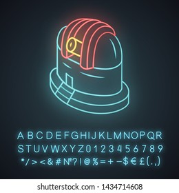 Observatory neon light icon. Observing terrestrial and celestial events. Astronomical observations. Starry sky analysis. Glowing sign with alphabet, numbers and symbols. Vector isolated illustration