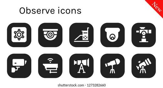 observe icon set. 10 filled observe icons. Simple modern icons about  - Hidden camera, Surveillance, Vigilance, Cctv, Telescope