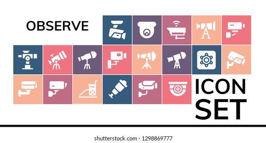 observe icon set. 19 filled observe icons. Simple modern icons about  - Cctv, Telescope, Vigilance, Spyglass, Surveillance, Hidden camera, Security camera