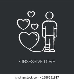 Obsessive love chalk icon. Possessive relationship. Attachment to lover. Extreme behaviour. Passion. Compulsive affection. Lovestruck. Mental disorder. Isolated vector chalkboard illustration