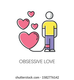 Obsessive love color icon. Possessive relationship. Attachment to lover. Extreme behaviour. Passion. Compulsive affection. Lovestruck and lovesickness. Mental disorder. Isolated vector illustration