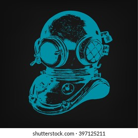 Obsoled diving equipment, vector hand drawn illustration