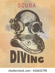 Obsoled diving equipment, vector hand drawn poster