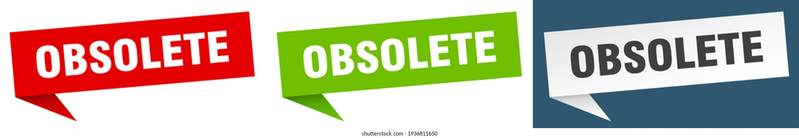 obsolete banner sign. obsolete speech bubble label set