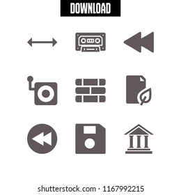 obsolete icon. 9 obsolete vector set. antique columns building front, cassette, old camera and wall icons for web and design about obsolete theme