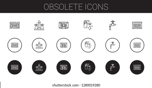 obsolete icons set. Collection of obsolete with vhs, faucet, cassette, tap. Editable and scalable obsolete icons.