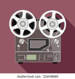 obsolete tape recorder with two bobbins