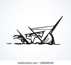 Obsolete wood rusty caravel sloop isolated on white sky backdrop. Freehand line black ink drawn deep float discovery logo sign icon sketch in art retro engrave doodle style pen on paper space for text