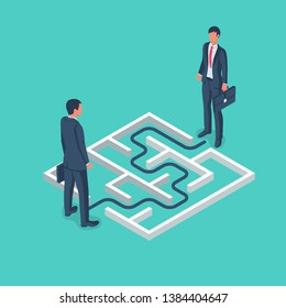 An obstacle to meeting two businessmen. Maze with solution. Conquering adversity. Hurdle on way concept. Vector illustration flat design. Overcoming obstacle on road.
