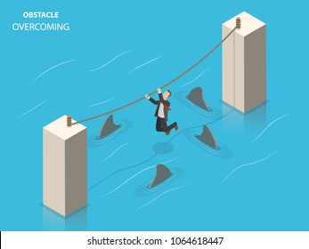 Obstacles overcoming flat isometric vector concept. A businessman is trying to get to the other pillar using a rope with sharks floating beneath him.