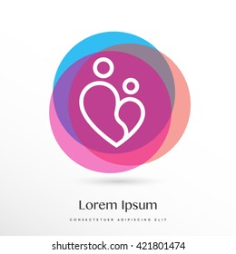OBSTETRICIAN MINIMAL LOGO TEMPLATE, WOMAN CHILD DOCTOR, MOTHER LOVE, CHILD PROTECTION ICON ISOLATED