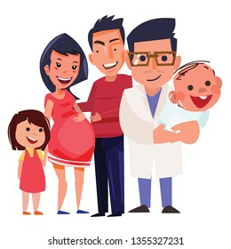 Obstetricians or IVF doctor with  patient and family - vector illustration