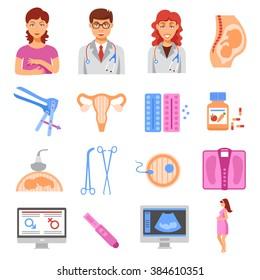 Obstetrics flat icons set with flat gynecology icons set isolated vector illustration