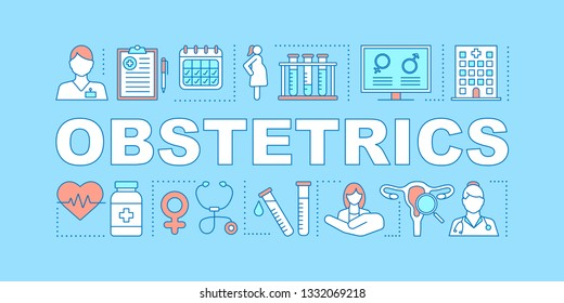 Obstetrics word concepts banner. Prenatal care. Pregnancy gynecological examination, childbirth. Ob gyn. Presentation, website. Isolated lettering typography idea, icons. Vector outline illustration