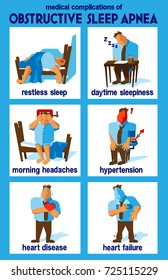 obstructive sleep apnea medical complications infographic illustrating several medical complications from OSA