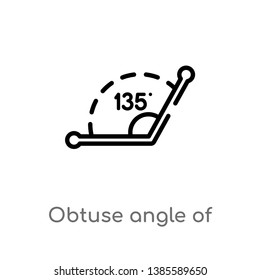obtuse angle of 135 degrees vector line icon. Simple element illustration. obtuse angle of 135 degrees outline icon from other concept. Can be used for web and mobile