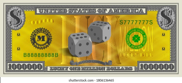 Obverse Lucky one million dollars banknote. 3d dice in the center on a gold grid and serial numbers 7777777, 88888888. EPS10
