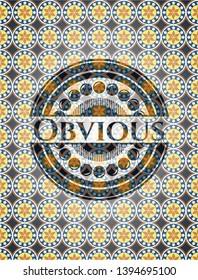 Obvious arabesque emblem. arabic decoration.