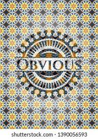 Obvious arabic style badge. Arabesque decoration.
