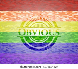 Obvious emblem on mosaic background with the colors of the LGBT flag