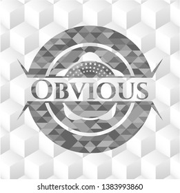 Obvious grey badge with geometric cube white background