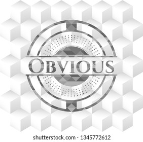 Obvious grey emblem with geometric cube white background