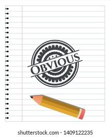 Obvious pencil strokes emblem. Vector Illustration. Detailed.
