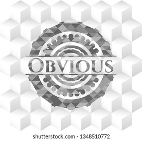 Obvious realistic grey emblem with geometric cube white background