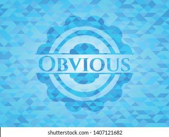 Obvious realistic sky blue mosaic emblem