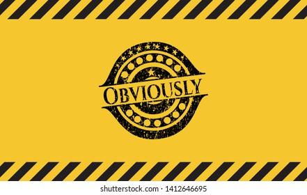 Obviously black grunge emblem inside yellow warning sign. Vector Illustration. Detailed.