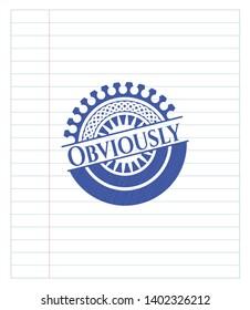 Obviously blue ink pen emblem. Vector Illustration. Detailed.