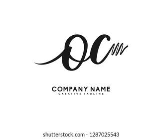 OC Initial Handwriting Logo Template Vector