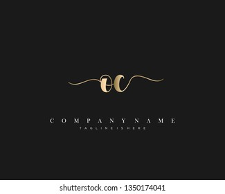OC initial handwriting logo template with luxury color vector.