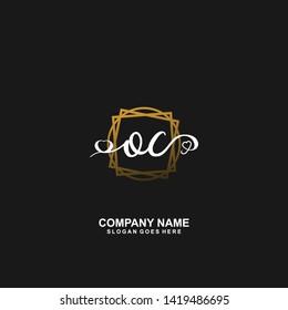 OC Initial handwriting logo vector