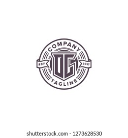 OC Initial logo template vector with badge emblem