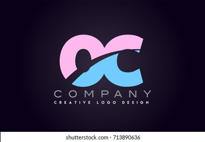 oc letter logo combination alphabet vector creative company icon design template modern  pink blue bold