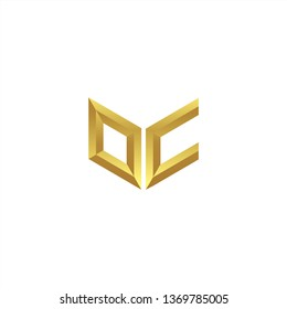 OC Logo letter initial 3d designs templete with gold colors