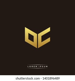 OC Logo Letter Initial Logo Designs Templete with Gold and Black Background