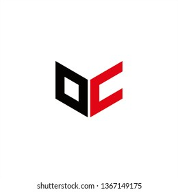 OC Logo Letter Initial With Red and Black Colors