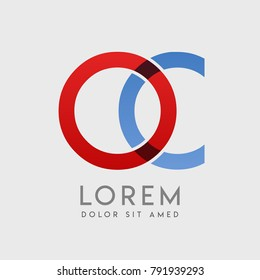 """OC logo letters with """"blue and red"""" gradation"""