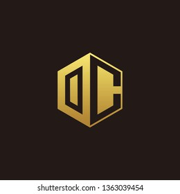 OC Logo Monogram with Negative space gold colors
