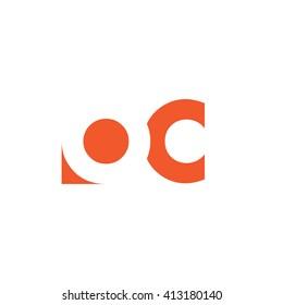 OC Logo. Vector Graphic Branding Letter Element. White Background