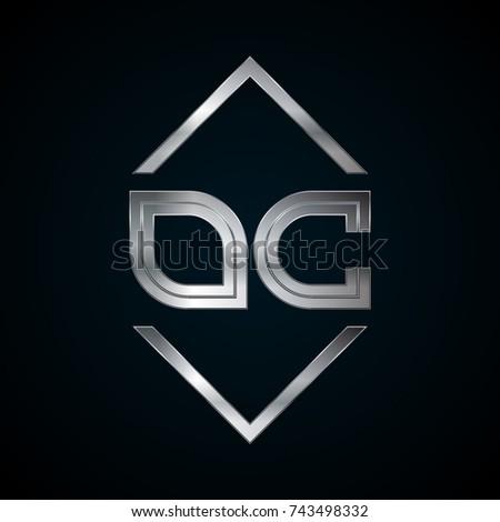 Oc Monogram Metal Logo Silver Logo Stock Vector Royalty Free